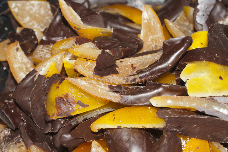 Fruit with chocolate, peel of oranges with chocolate royalty free stock photos