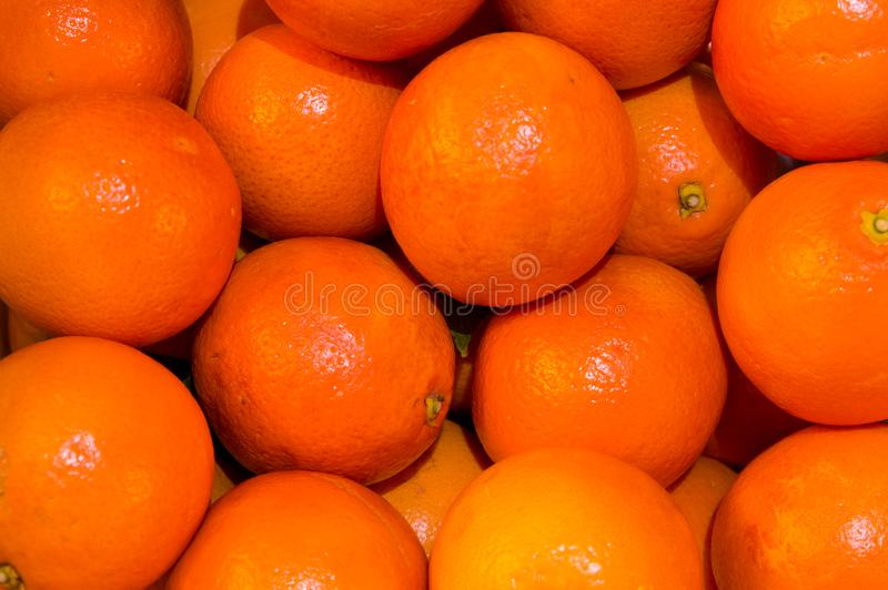Fruit, citrus, clementines, orange, vitamines. Some orange clementines in a box stock images