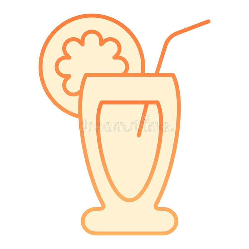 Fruit cocktail flat icon. Drink orange icons in trendy flat style. Tropical beverage gradient style design, designed for vector illustration