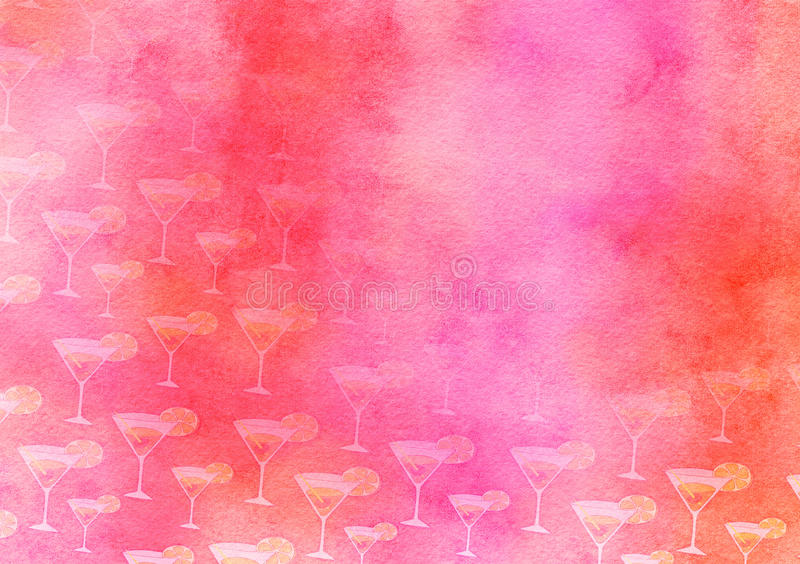 Fruit Cocktail Watercolour Painted Party Paper stock illustration