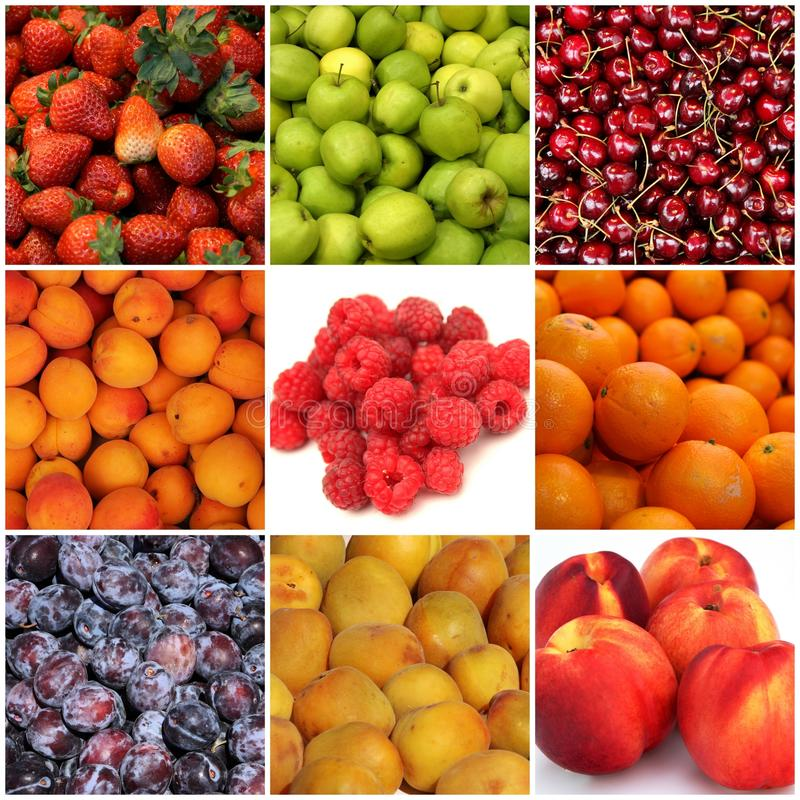 Fruit collage. Collage of healthy and colorful fruits stock images
