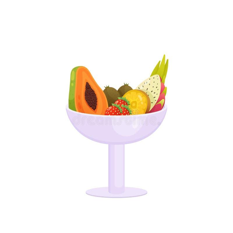 Fruit coloré dans le long vase à tige d'isolement au-dessus du fond blanc illustration stock