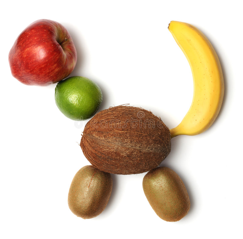 Fruit composition on a form of an animal stock photo