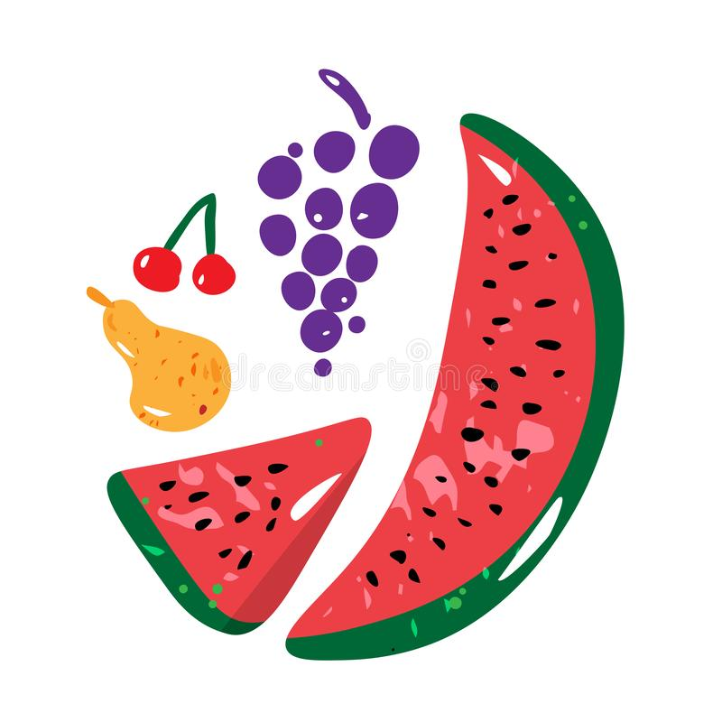 Fruit concept with watermelon, pear, grape and cherry. Vector. royalty free illustration