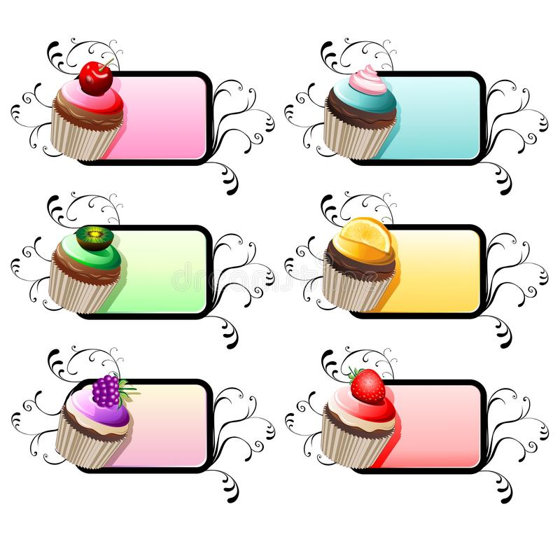 Download Fruit Cupcakes With Ornamental Label Stock Illustration - Illustration of cook, food: 25302711