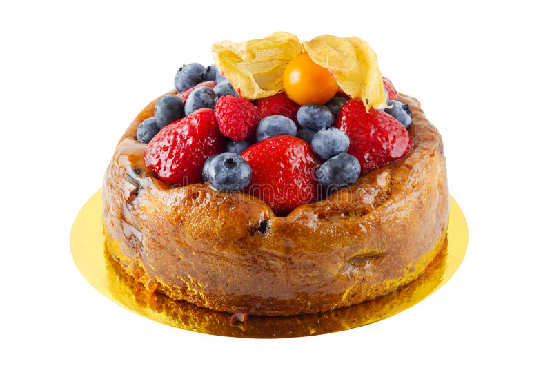 Fruit Custard Cake stock images