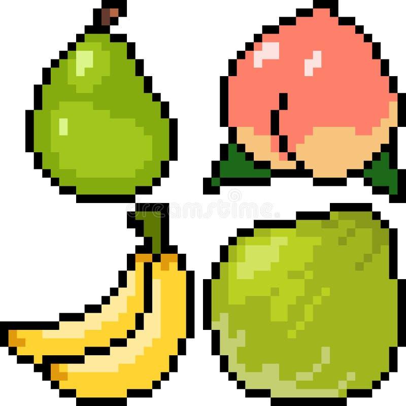 Fruit d'art de pixel de vecteur illustration stock