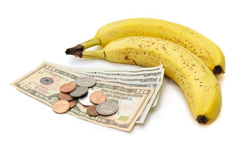 Fruit de banane avec de l'argent photographie stock libre de droits