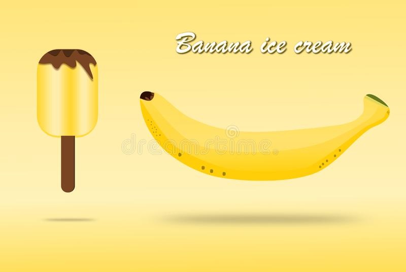 Fruit de banane et cr?me glac?e de conception de banane pour la banni?re ou l'affiche sur le fond jaune Vecteur Illustration illustration libre de droits