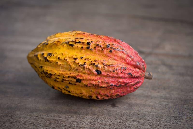 Fruit de cacao, haricots crus de cacao, cosse de cacao sur le fond en bois photo stock