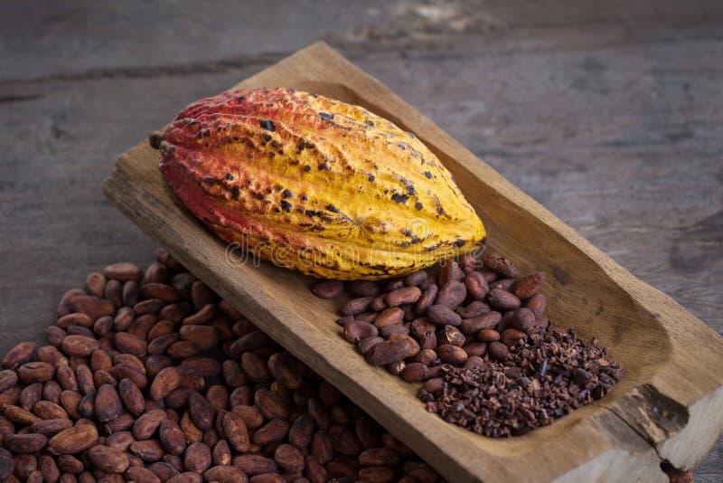 Fruit de cacao, haricots crus de cacao, cosse de cacao sur le fond en bois photographie stock libre de droits
