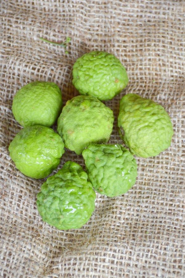 Fruit de chaux ou de bergamote de Kaffir sur le vieux tissu photos libres de droits
