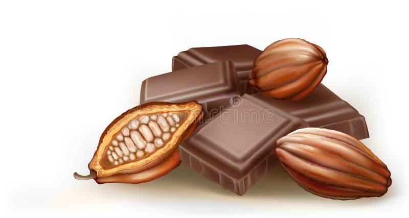 Fruit de chocolat et de cacao illustration libre de droits