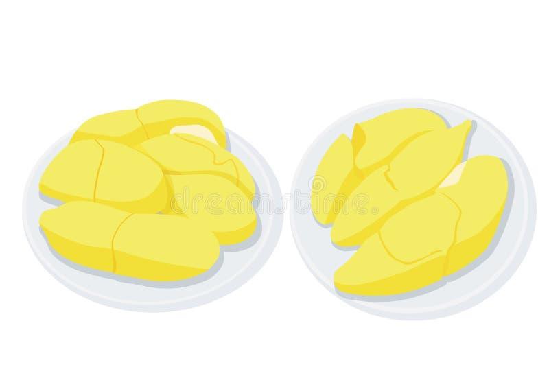 Fruit de durian dans le plat illustration libre de droits