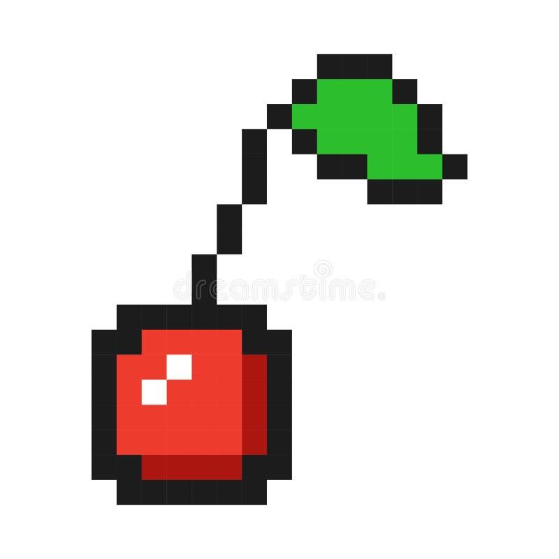 Fruit de jeu d'icône de cerise d'art de pixel illustration libre de droits