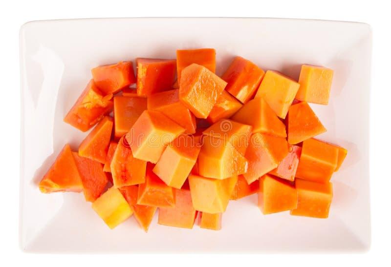 Fruit De Papaye Classé Par Morsure Dans Le Plat V Image stock ...