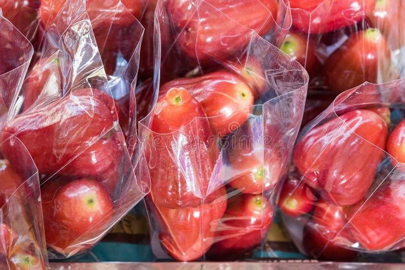 Fruit de pomme rose ou affichage fraîchement plumé d'airon de jambu à vendre images stock