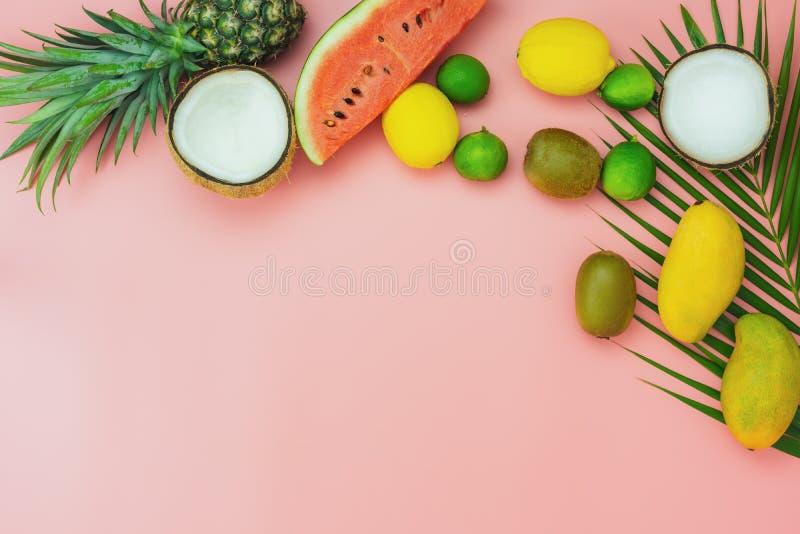 Fruit de vue supérieure de Tableau tropical avec le concept de fond de vacances d'été et de vacances de ressort photos stock