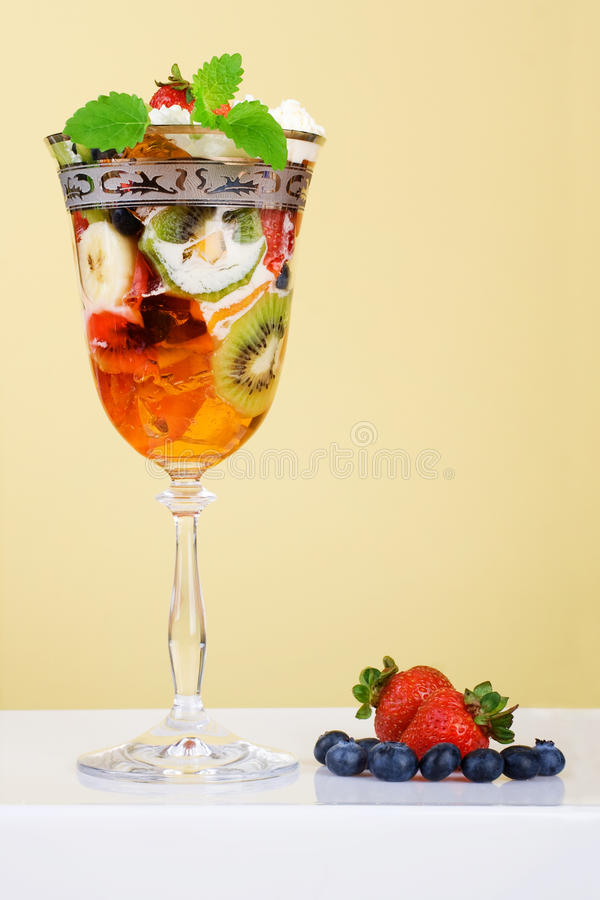 Download Fruit Dessert With Jelly In Elegant Glass. Stock Image - Image: 16490479