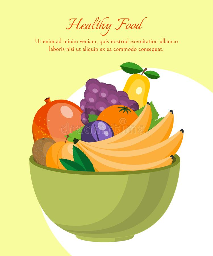 Fruit diet poster. Fruit farm market. Organic and natural food vector illustration. Bowl with fresh products such as vector illustration