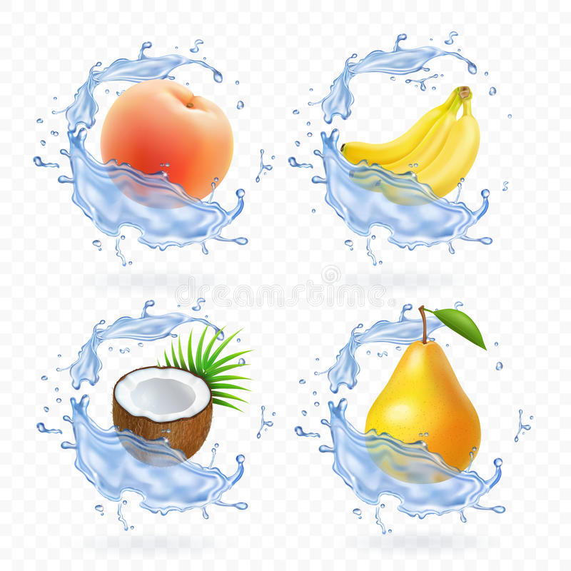 Fruit doux Illustration réaliste de jus frais de banane, de noix de coco, de pêche, de poire et d'abricot icônes du vecteur 3d ré illustration stock