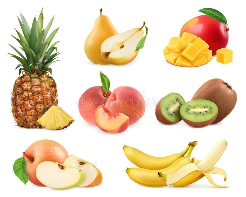 Fruit doux Totalité et morceaux icônes s du vecteur 3d illustration stock