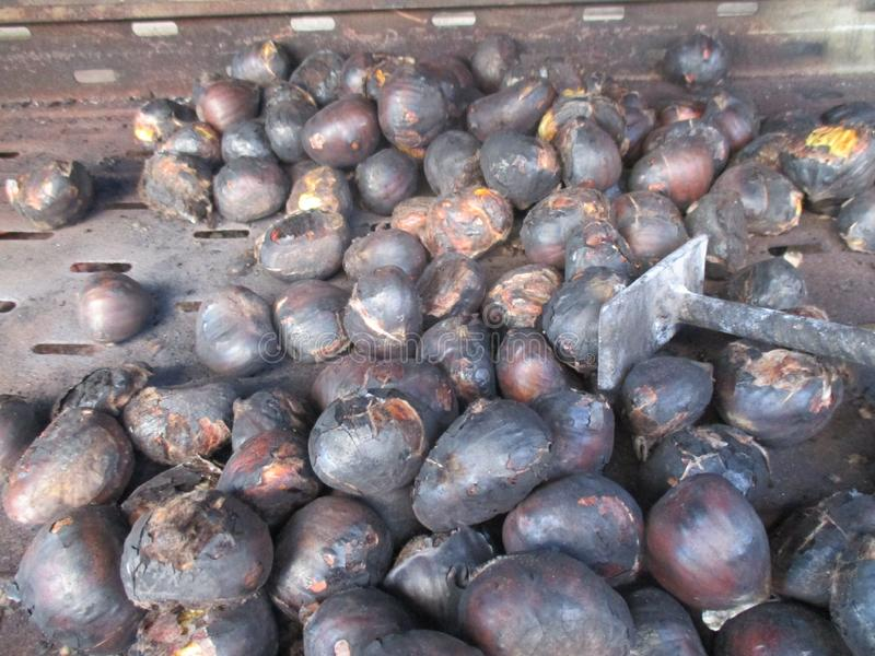Chestnuts on the barbecue royalty free stock photo
