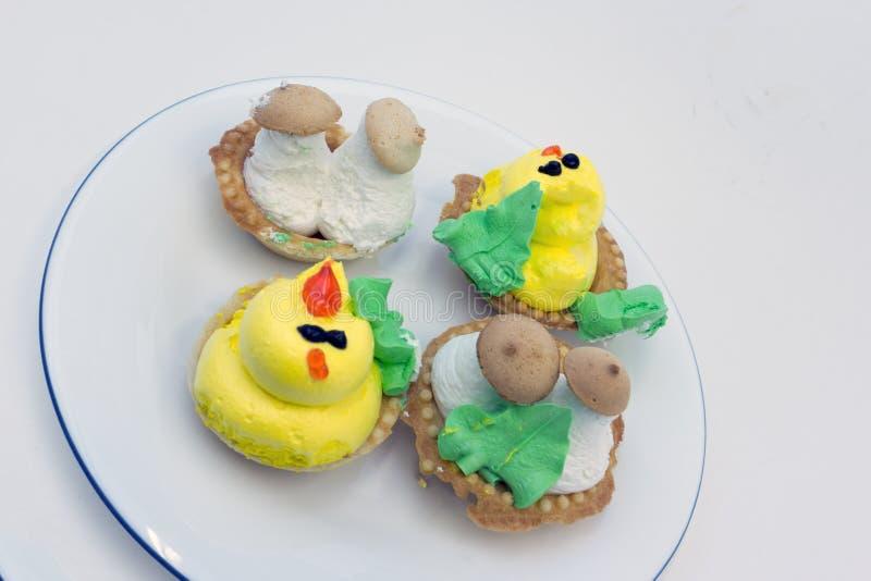 Fruit en bessen geassorteerde hoogste de meningsachtergrond van het tartletsdessert dienblad Mooie heerlijke taartjes, het helder royalty-vrije stock afbeelding