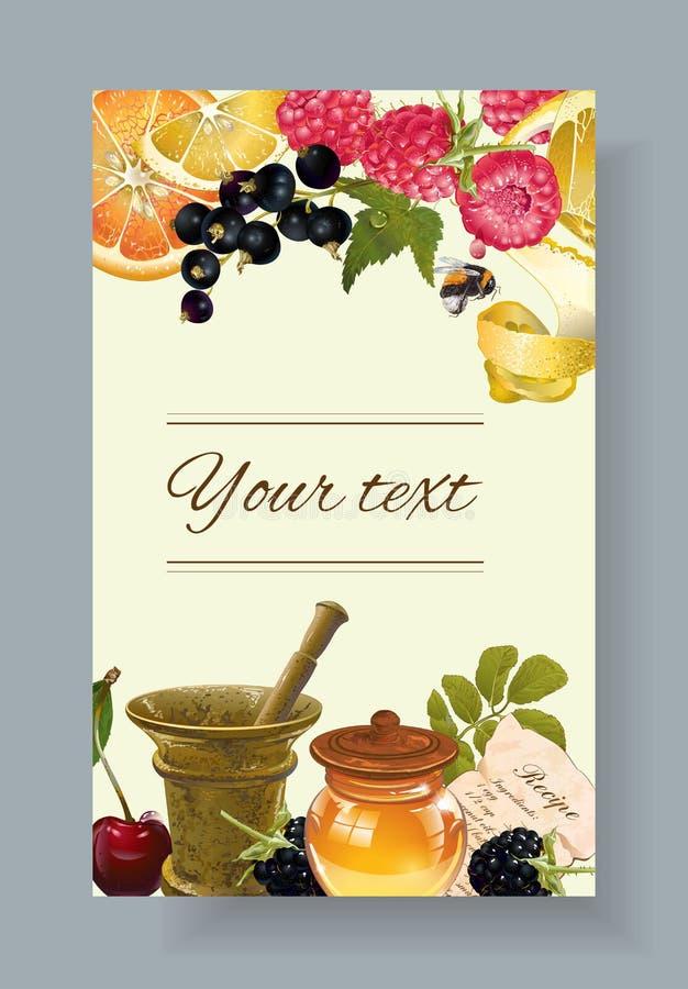 Fruit en bessen kosmetische banner stock illustratie