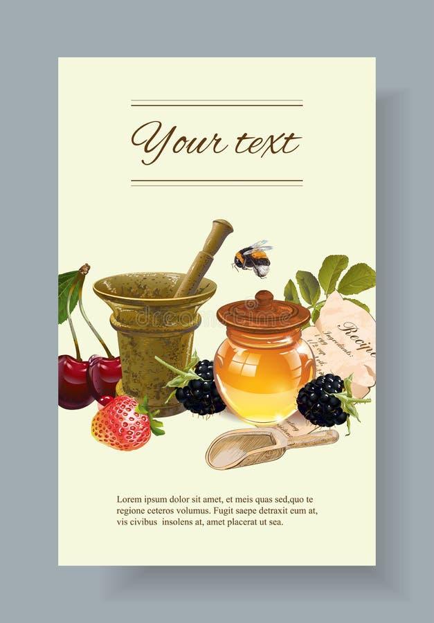 Fruit en bessen kosmetische banner royalty-vrije illustratie