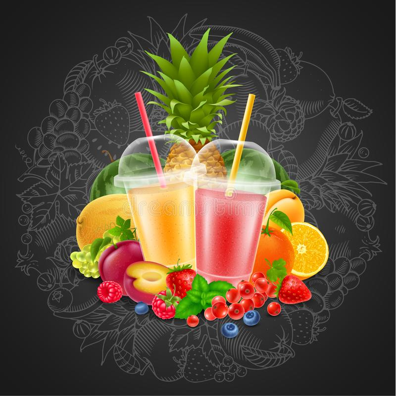 Fruit en bessen smoothie stock illustratie