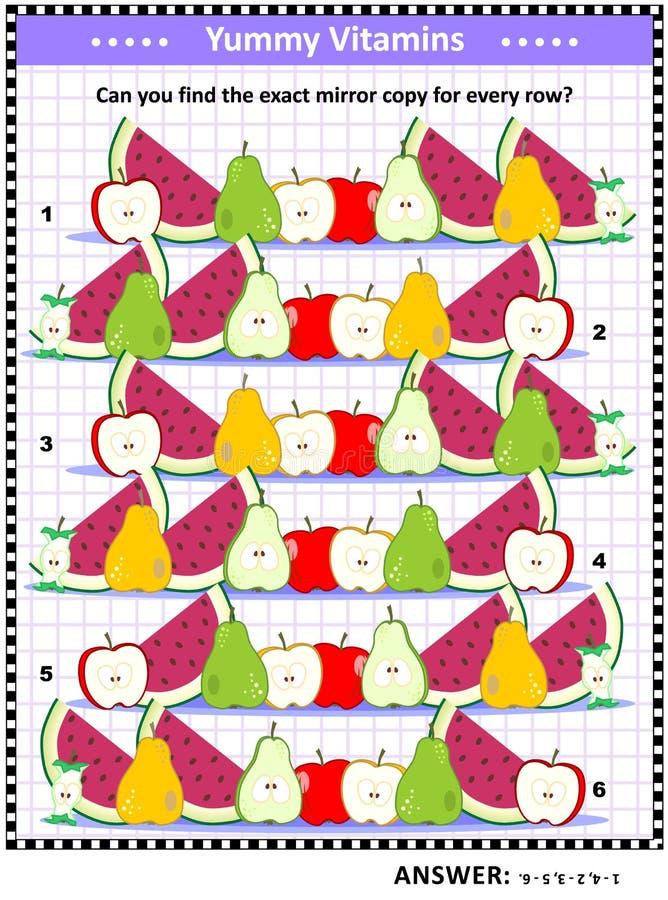 Fruit en bessenvitaminen als thema gehad logicaspel met weerspiegelde rijen royalty-vrije illustratie