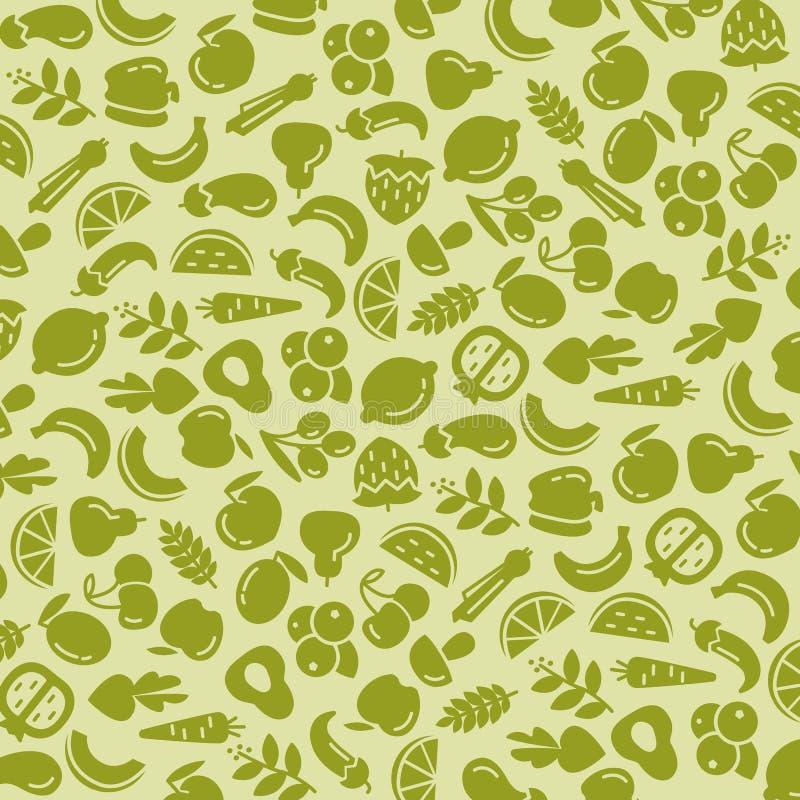 Fruit en groenten als achtergrond naadloos patroon vector illustratie