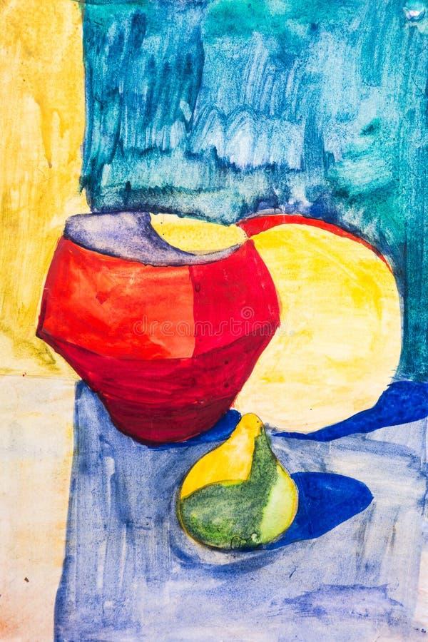 Fruit en kruik met een borstel wordt geschilderd die royalty-vrije stock afbeeldingen