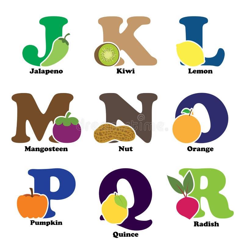 Fruit en plantaardig alfabet royalty-vrije illustratie