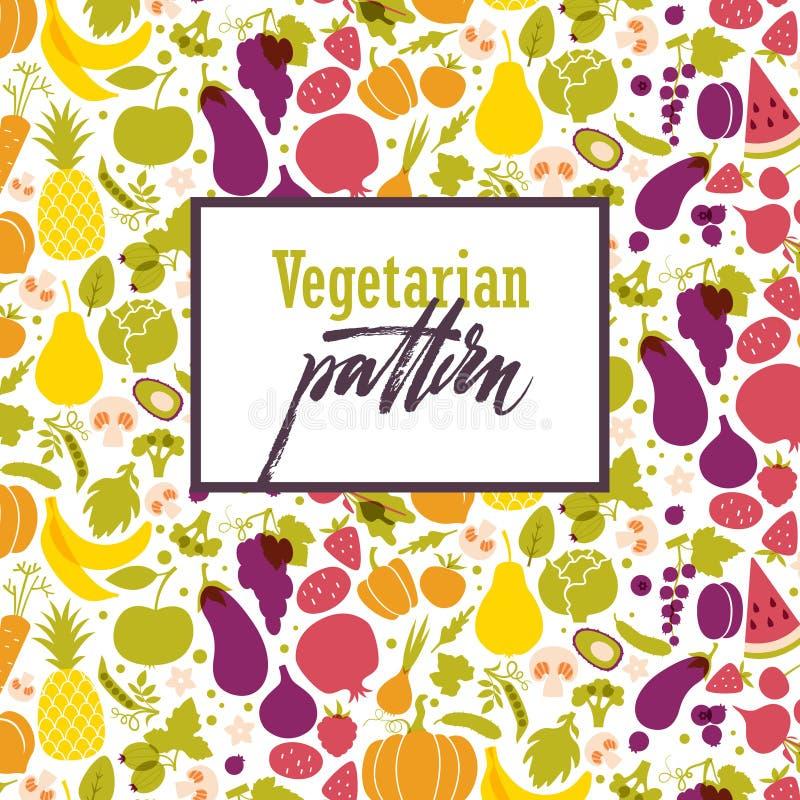 Fruit en plantaardig patroon royalty-vrije illustratie