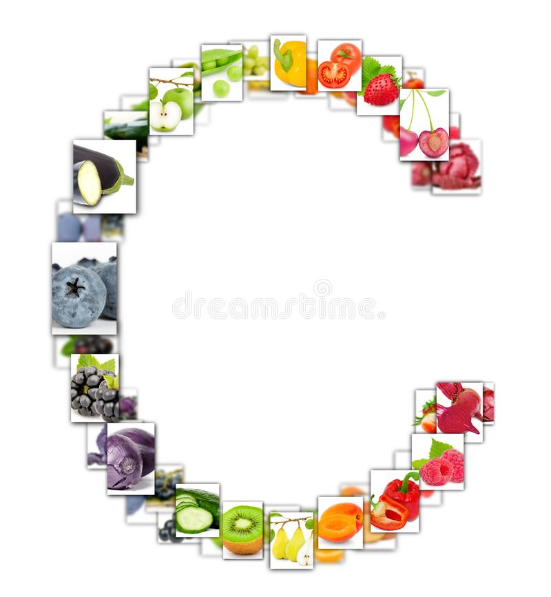 Fruit en Plantaardige Brief stock illustratie