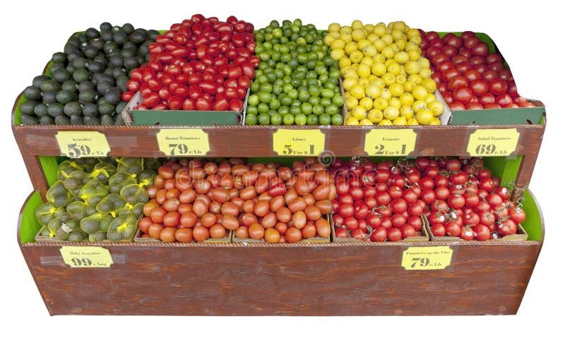 Fruit en plantaardige tribune stock fotografie