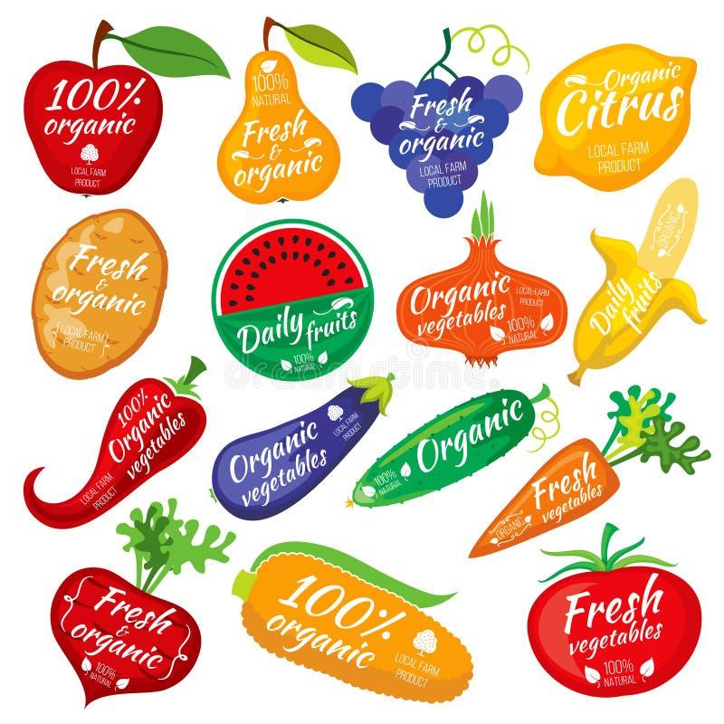 Fruit en van de groentenkleur silhouetten, embleem voor voedselopslag verpakking royalty-vrije illustratie