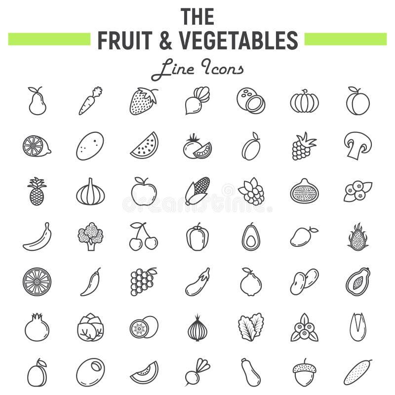 Fruit en van de Groentenlijn pictogramreeks, voedselsymbolen royalty-vrije illustratie