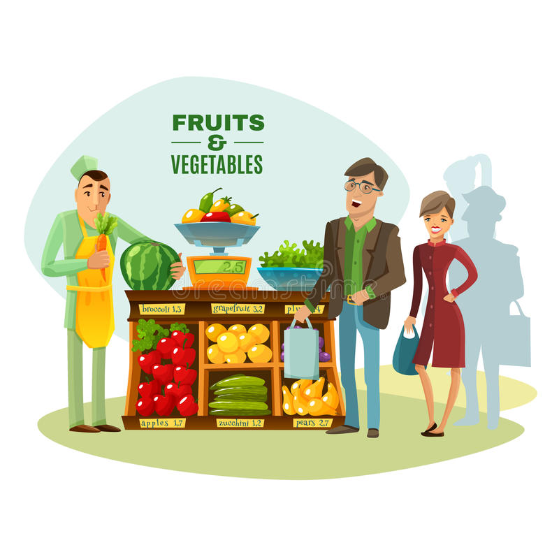 Fruit en van de Groentenverkoper Illustratie vector illustratie