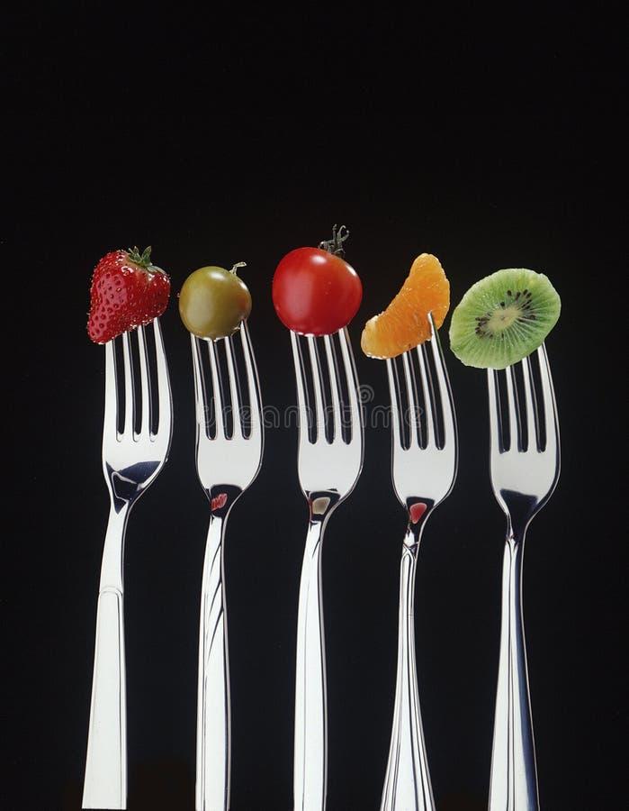 Fruit en vorken royalty-vrije stock foto's