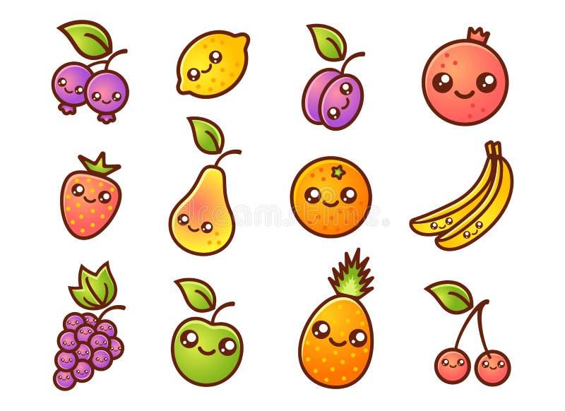 Fruit et baies dans le style de manga illustration stock