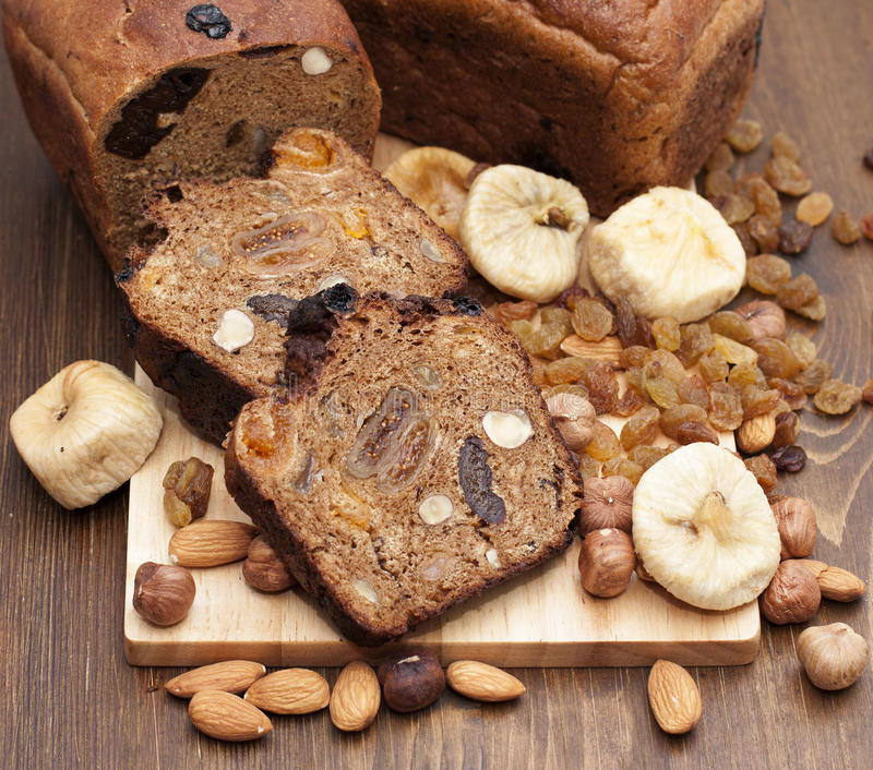 Fruit Figs Bread With Nuts. Stock Image - Image of bread ...