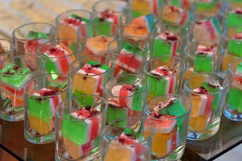Colorful jelly dessert, catering food, self service buffet stock image