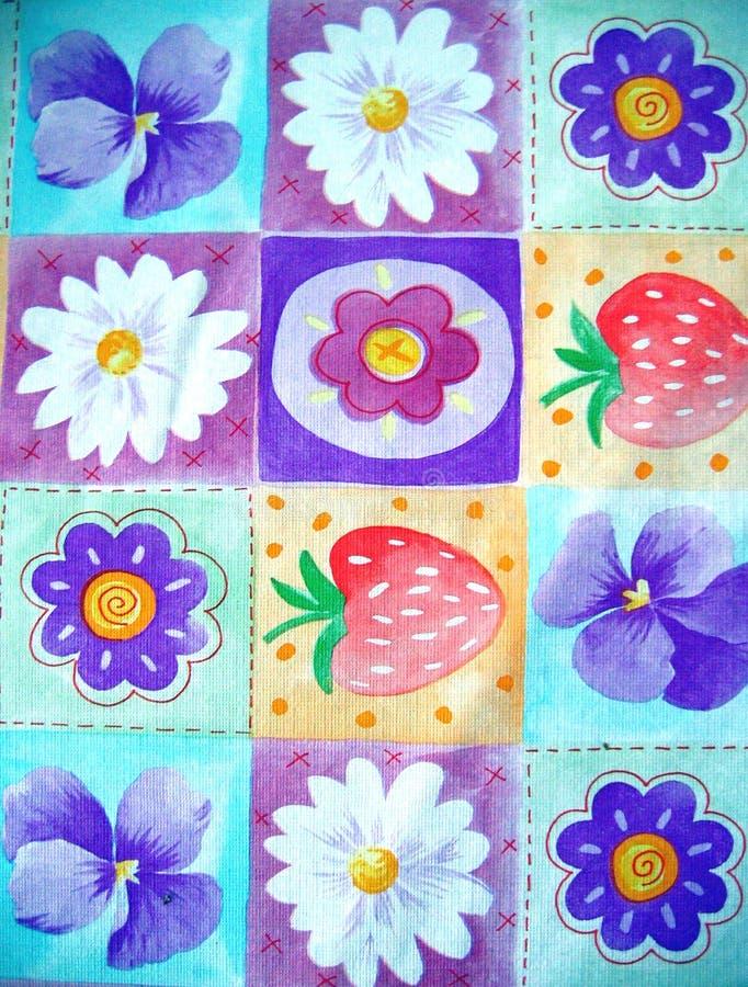 Fruit and flower background stock illustration