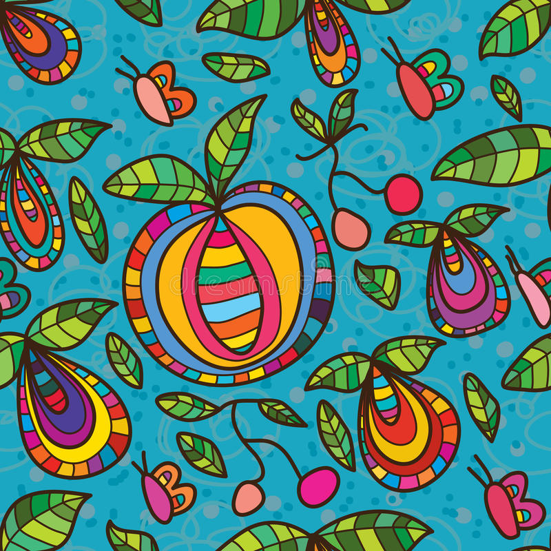Fruit fly butterfly seamless pattern. This illustration abstract fruit plant follow butterfly flying in blue color seamless pattern vector illustration