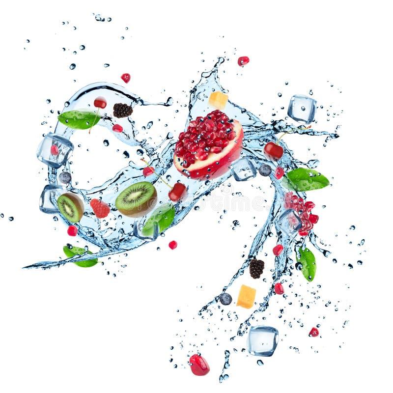 Fruit frais avec l'éclaboussure de l'eau et les glaçons illustration de vecteur