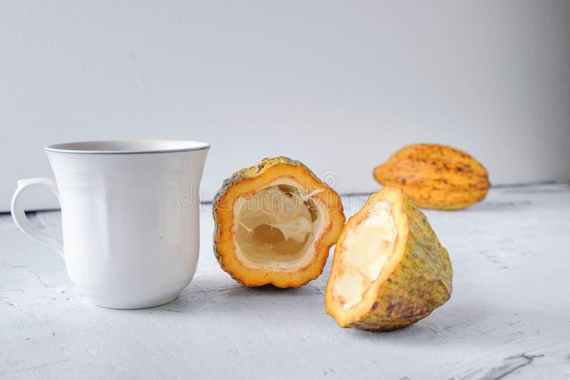 Fruit frais de cacao et une tasse de cacao chaud photos stock