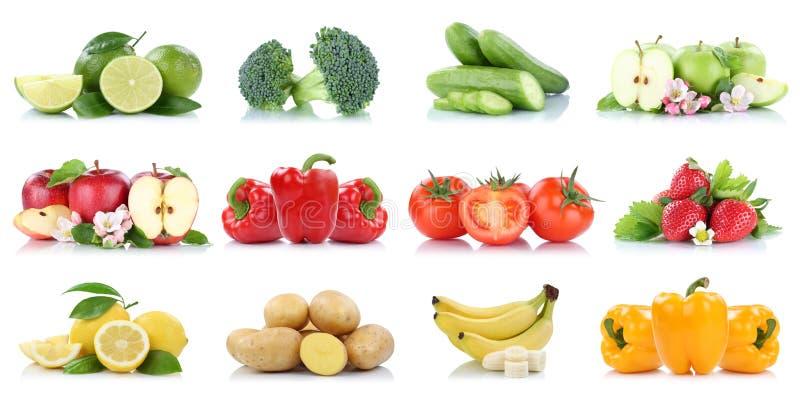Fruit frais de couleurs de banane de fraises de tomates de pomme d'isolement par collection de fruits et légumes images stock